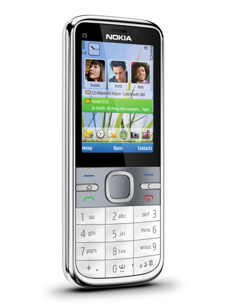 Available in white and warm grey, the Nokia C5 will be available in the