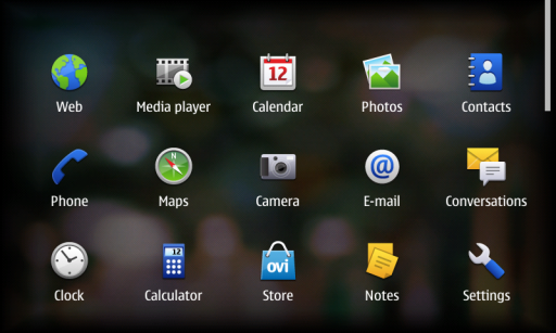 N900 Menu Screen