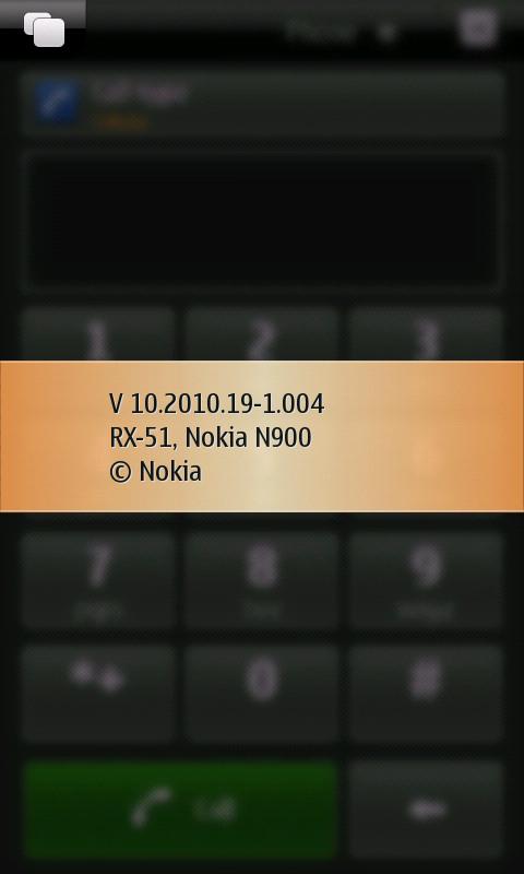 N900 Dialler screen with info