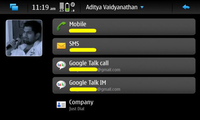 N900 Phonebook Entry